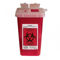 Phlebotomy Sharps Container 1 Qt. with Attached Top and Dual Openings