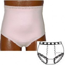 """""""OPTIONS Ladies' Basic with Built-In Barrier/Support, Soft Pink, Dual Stoma, Small 4-5, Hips 33"""""""" -"""