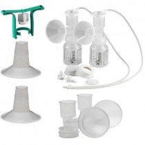 Dual HygieniKit Milk Collection System with CustomFit Flange System with One-Hand Manual Breast Pump