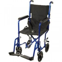 """""""Aluminum Transport Chair, 19"""""""", Blue Frame, Black Upholstery, 300 lb Weight Capacity"""""""